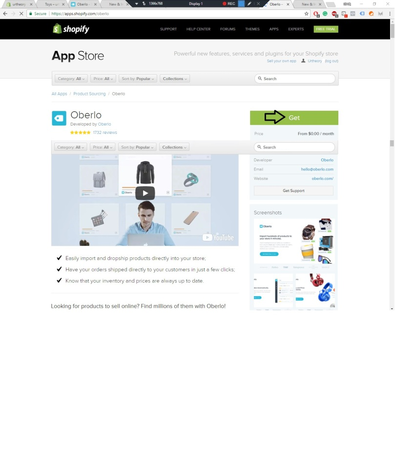 Get Oberlo free from Shopify Apps Store