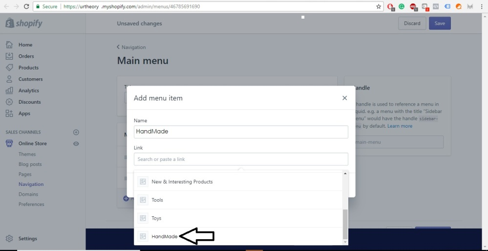Shopify Store Development adding collection to menus