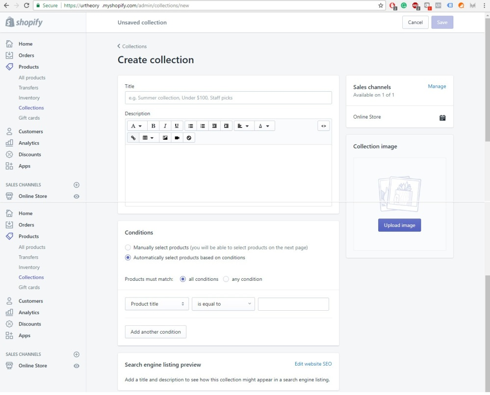 Shopify Store Development creating collection