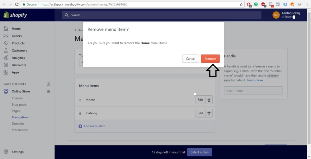 Shopify Store Development Deleting Menus on Home Page