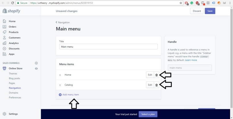 Shopify Store Development Deleting Menus