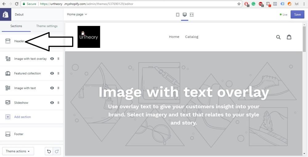 Shopify Store Development Editing Header