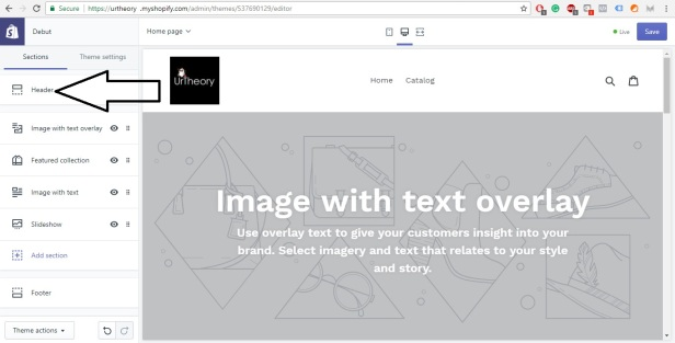 Shopify Store Development Editing Header
