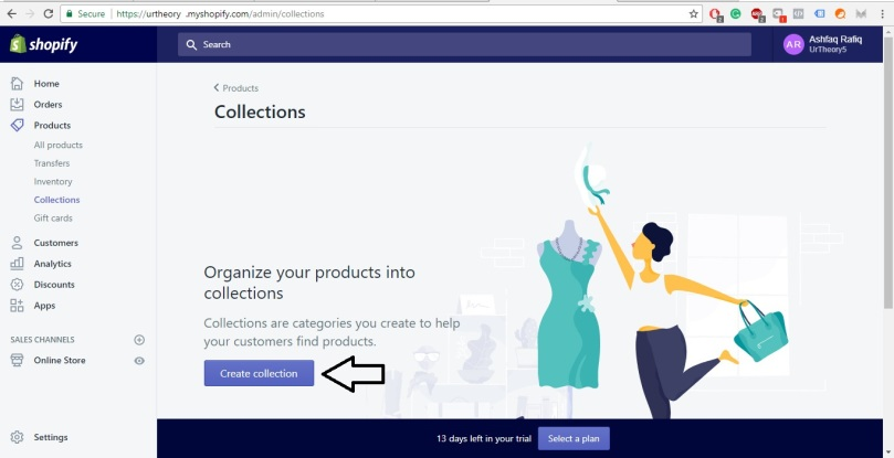 Shopify Store Development step 20 creating collection